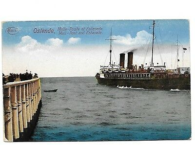 OSTENDE Mail Post & Estacade Early Belgium Postcard