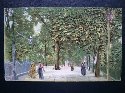 Post Card The New Walk Leicester About 1900's Showing People Walking