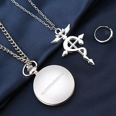 Fullmetal Alchemist Pocket Watch Necklace Ring Edward Elric Anime cosplay Gifts