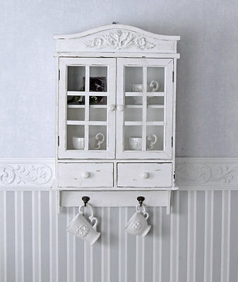 Wall Cabinet Towel Holder Shelf Country House Style Kitchen Antique White