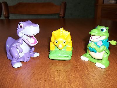The Land Before Time 1997 Burger King Toys Ducky- Cera- Chomper