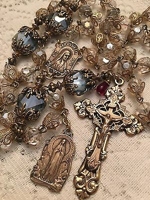 French Rosary ~ St Bernadette ~ Our Lady Lourdes ~ 8mm Austrian Crystal ~ Bronze