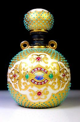 Antique Coalport Jewelled & Agate Scent Bottle V.1969 C.1891