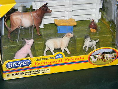 BREYER Stablemates 5365 Farmyard Friends Cow Goat Sheep Pic Chicken Fence NEW