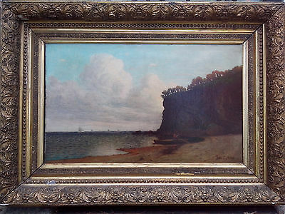 Awesome 19th Century Hudson River School Signed Dated Seascape Oil on Canvas