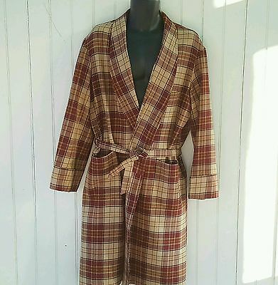 Vintage Bathrobe & Sash Mens Large /42 Long Wool Robe Smoking Jacket Classic