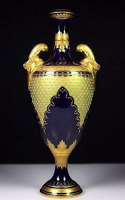 Antique Coalport Jewelled Cobalt Blue Slender Vase V.6119 C.1891