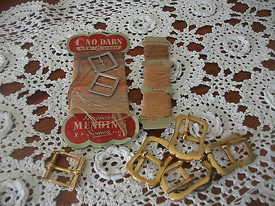Lot Of Vintage Buckles And Semco Hosiery Mending Thread Still On Card C1940's