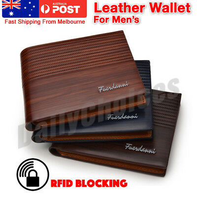 Men's Brown Leather RFID Blocking Wallet ! AU STOCK! Melbourne !
