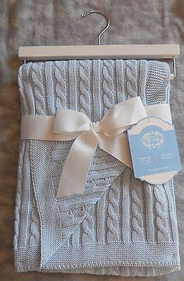 Heirloom Baby Cable Knit Blanket Light Blue 100% Cotton 30x40