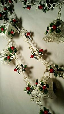 9' Vintage Plastic Holly Berry Birdcage & Bells Christmas Garland Kitsch