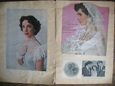 Vintage 1950 Elizabeth Taylor Scrapbook Magazine Pages Wedding Nick Hilton