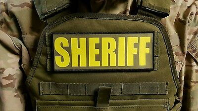 3x8 SHERIFF OD Green Yellow RAID Morale Patch SWAT Hook Backed LEO Badge