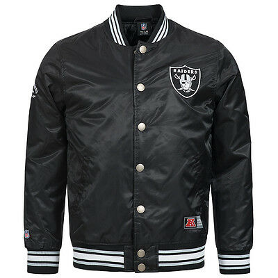Oakland Raiders Majestic NFL Glascoe Satin Men's Jacket Bomber College new