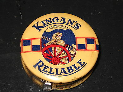 Kingans Reliable Meats EARLY Celluloid Sewring Tape Measure GRAPHIC w Fisherman