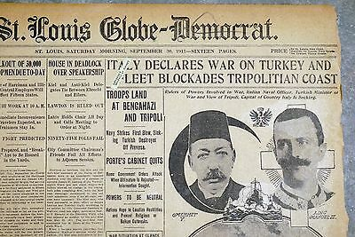 1911 Newspaper Front Page - Italy Declares War on Turkey