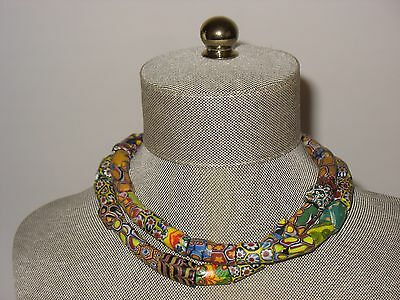 Vintage African Trade Beads Antique Old Venetian Glass Necklace Millefiori