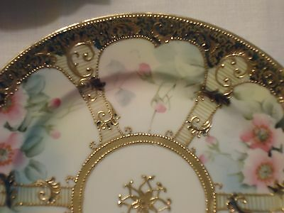 """IC Nippon Hand Painted Moriage Plate Gold w Pastel Pink Blue Roses 8.5"""""""