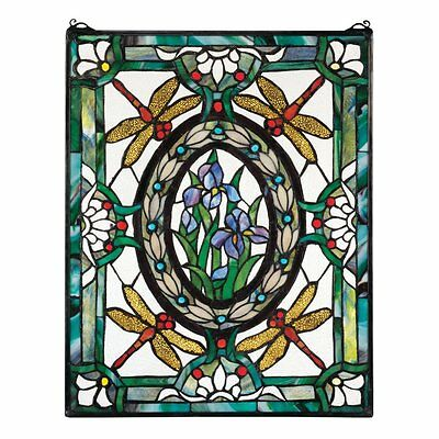 Design Toscano HD585 Dragonfly Floral Stained Glass Window