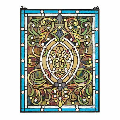 Design Toscano HD748 Beguiled in Blue Tiffany-Style Stained Glass Window