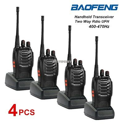 4X BF-888S BaoFeng Walkie Talkie UHF 400-470 MHz Two Way Radio 16CH +UK Charger