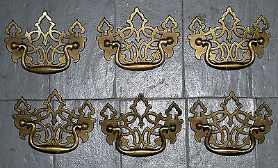 Lot Of 6 Vintage Victorian Style Brass Drawer / Cabinet Pulls / Handles