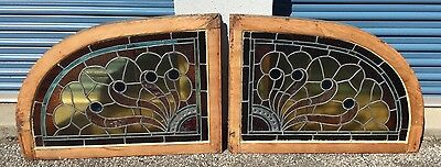 Pair Antique Train Station Stained Glass Windows LaGrange Georgia 1890-1900