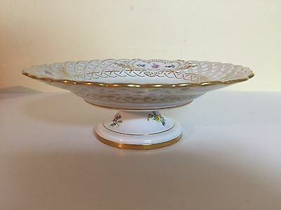 Antique Meissen Scattered Flowers Compote Hand Painted-Crossed Swords-Germany