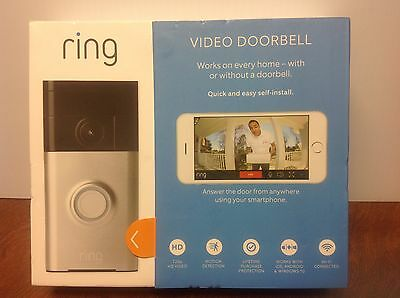 Ring Video Doorbell Smart Wi-Fi Enabled Satin Nickel Brand New