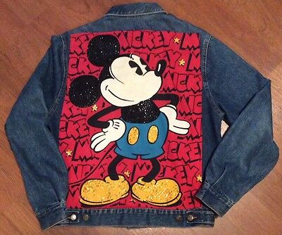 90's Vintage Mickey & Co. by J.G. Hook sequined denim jacket, women's large