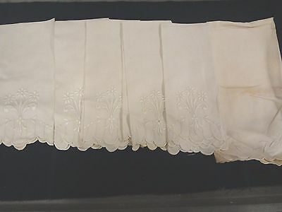 Antique Vintage embroidered off white show hand towel lot of 6 5 same 1 differnt