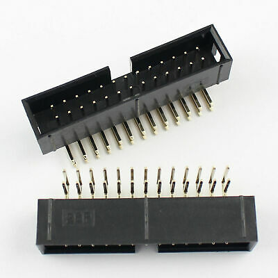 5 PCs 2x13 Pin 26 Right Angle 90 Male Shrouded IDC Box Header Connector USA 2.54