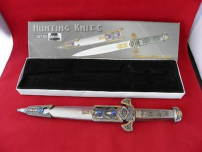 "Large 13 1/2"" Ornate Fantasy Knife Dagger Jeweled Sheath Stainless Medieval Box"
