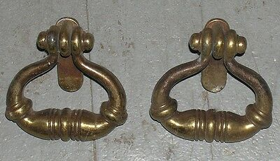 Pair Of Vintage Mid-Century Antique Brass Armoire/cabinet/drawr Pulls/handles