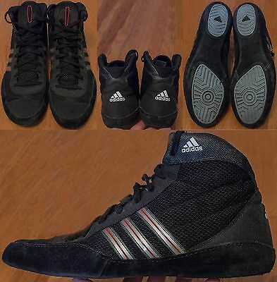 Adidas Wrestling Shoes Mens US 12 UK 11.5 Black With Red And Silver Stripes