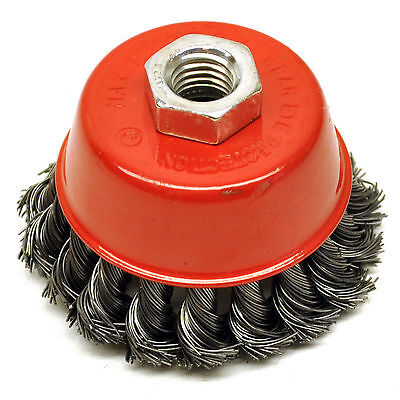 """NEW 3"""" Twist Knot Wire Wheel Cup M14 Screw Brush Angle Grinder ROTARY STEEL"""