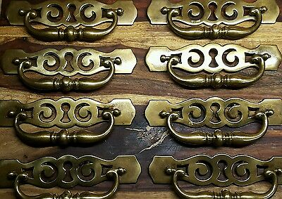 Set of 8 Large Vintage Antique Brass Drop Bail Drawer Pulls