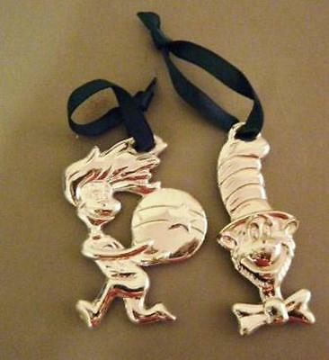 Dr. Seuss Cat in the Hat Silver Plated Ornament 2 Pieces