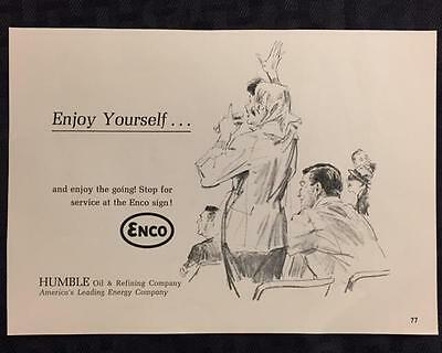Original 1965 ENCO Gas Station Ad ~ Vintage Advertisement HUMBLE Oil & Refining