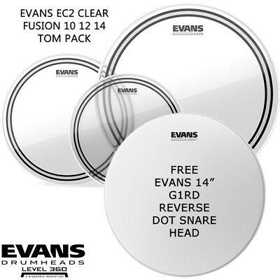 Evans EC2S Clear Fusion + 14 in Reverse Dot Snare Drum head skin pack 10 12 14