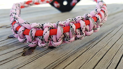 Archery Bow Sling 550 Paracord Camo pink & Red  + 2 zipper pulls  & leather yoke