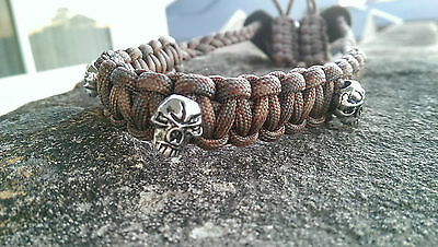 Archery Bow Sling 550 Paracord -Coffee camo + 3 zipper pulls MADE TO ORDER