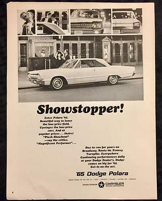 Original 1965 '65 DODGE POLARA Ad ~ Vintage Advertisement CHRYSLER