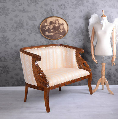 Two Seater Sofa Salon Sofa Stripes Bench Mahogany Couch Upholstered Sofa Antique