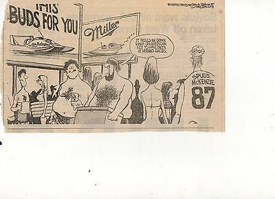 Bud vs. Miller beer cartoon clipping, unlimited hydroplane