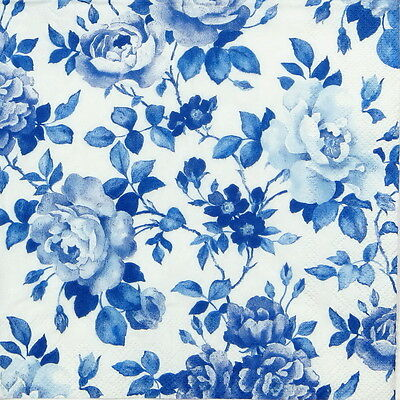 20 Pcs Luxury Table Paper Napkins for Party, Decoupage Decopatch Rosery Blue