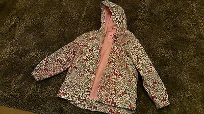 TU  nearly new lepord and butterfly print rsin jacket with hood. age 5-6 years