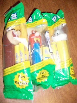 1999-2001 PEZ Warner Brothers  Bugs~Yosemite~Taz Footed in Packages Lot 0f 3