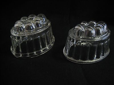 Pair Vintage Oval Glass Jelly Moulds