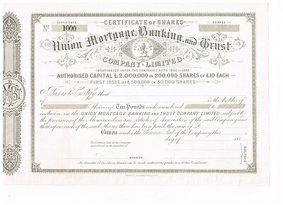 Union Mortgage Banking and Trust Co.Ltd., 188x,  specimen